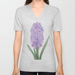 purple pink hyacinth watercolor Unisex V-Neck