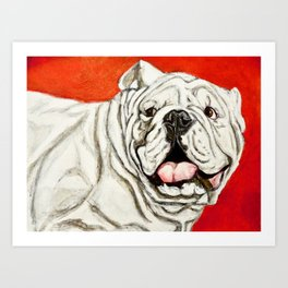 Uga the Bulldog Painting - Red Background Art Print