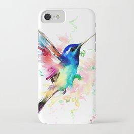 Hummingbird , Blue Turquoise Pink iPhone Case