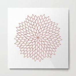 Mandala Flower Rose Gold on White Metal Print