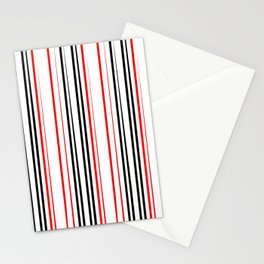 red black and white abstract striped pattern Stationery Cards