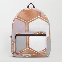 Mixed rose gold pinks and marble geometric Backpack