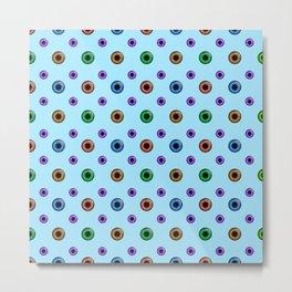 Eyeball Pattern on Blue Metal Print