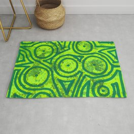 Square Green Round Rug