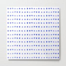 Navy blue lavender lilac watercolor polka dots pattern Metal Print