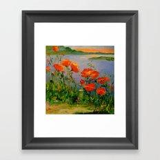 Poppies near the river Framed Art Print