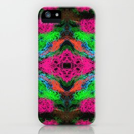 psychedelic graffiti geometric drawing abstract in pink green orange blue iPhone Case