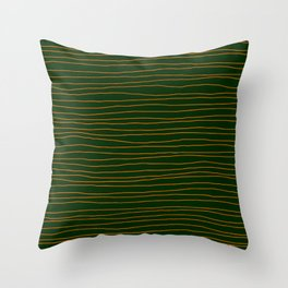 Hand Drawn Lines - Orange / Dark Green Throw Pillow