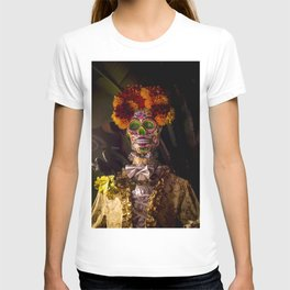 Day of the Dead Skeleton Lady with Beautiful Red and Orange Floral Crown T-shirt