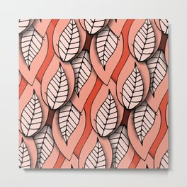 Retro Paper Leaves Pink Metal Print