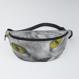 Cat with Piercing Yellow Eyes Fanny Pack