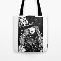 stevie nicks Tote Bags featuring Blacklights Stevie by Lynette K.