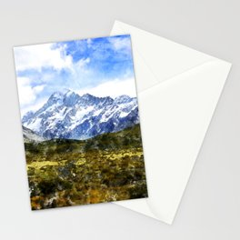 aoraki, mount cook, new zealand, alpine Stationery Cards