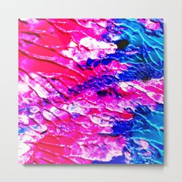 The 80s Retro Dream Ice Cream - Blue Pink and Yellow Paint on Canvas Metal Print
