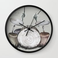 drums Wall Clocks featuring Mushroom drums by Anion