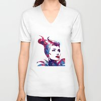 maleficent V-neck T-shirts featuring Maleficent by lauramaahs