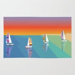 Sailing on the Beach Rug
