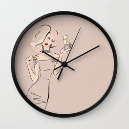 Fashion Blonde Girl with Champagne Wall Clock