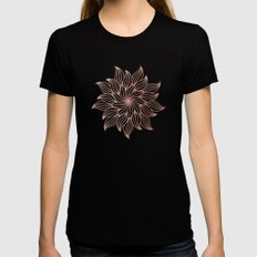 Mandala Floral Rose Gold on White LARGE Black Womens Fitted Tee