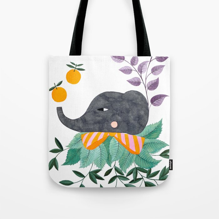 elephant with oranges and leaves watercolor illustration Tote Bag