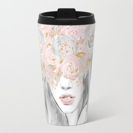 She Wore Flowers in Her Hair Rose Gold by Nature Magick Travel Mug
