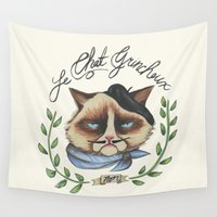 grumpy Wall Tapestries featuring Monsieur Grumpy by Jacqueline Maldonado