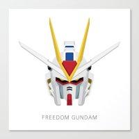 gundam Canvas Prints featuring Freedom Gundam by Ana A