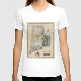 Vintage Map of Rhode Island (1823) T-shirt