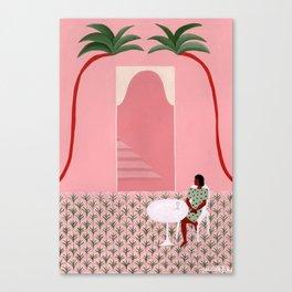 La cour intérieure rose Canvas Print