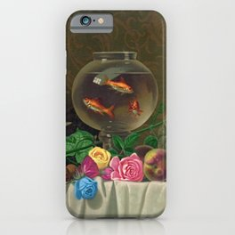 Goldfish Bowl - Floral Still Life with Summer Fruit Harvest and Goldfish iPhone Case