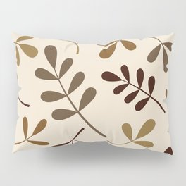 Assorted Leaf Silhouettes Gold Browns Cream Pillow Sham
