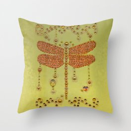 Dragonfly in Yellow Throw Pillow