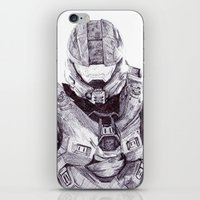 master chief iPhone & iPod Skins featuring Master Chief by DeMoose_Art