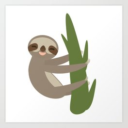 Three-toed sloth on green branch on white background Art Print