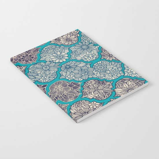 Moroccan Floral Lattice Arrangement - teal Notebook