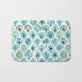 PEACOCK MERMAID Nautical Scales and Feathers Bath Mat