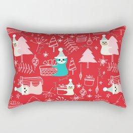 Santa Claus Cute Sloth Christmas pattern Red #christmas Rectangular Pillow
