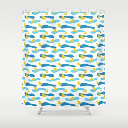 Yellow Rubber Duck with Blue Waves Seamless Pattern Shower Curtain