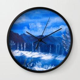 Frosty Mountain River Wall Clock