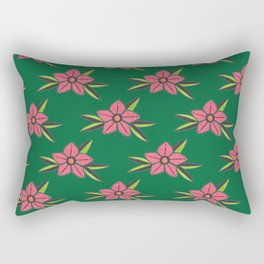 Hand Drawn Old School Tattoo Flower - Dark Green Rectangular Pillow