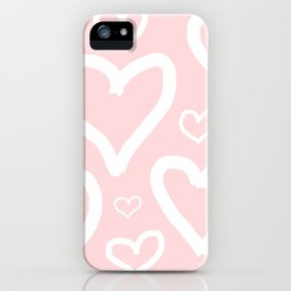 Millennial Pink Pastel Hearts iPhone Case