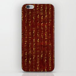 Golden Egyptian  hieroglyphics on red leather iPhone Skin