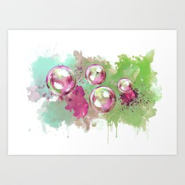 Soap bubbles in the sky watercolor painting Art Print