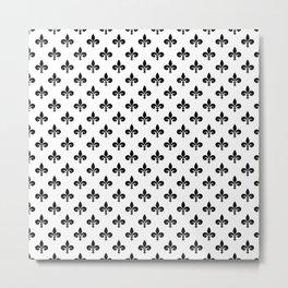 Black French Fleur de Lis on White Metal Print