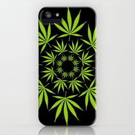 Cannabis Leaf Circle (Black) iPhone Case