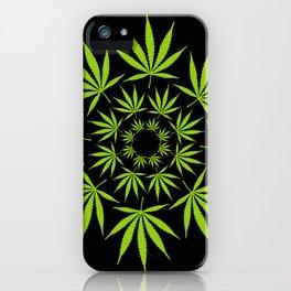 Cannabis Leaf Circle (Black) iPhone Case