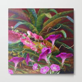 PURPLE MORNING GLORIES ABSTRACT FLORAL  ART Metal Print