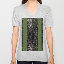 Gothic tree striped pattern green Unisex V-Neck