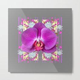 PURPLE BUTTERFLY ORCHID WHITE MUMS Flowers Garden GREY Art Metal Print