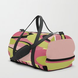 Contemporary Circles and Stripes Pattern in Hot Pink Neon Green and Black Duffle Bag